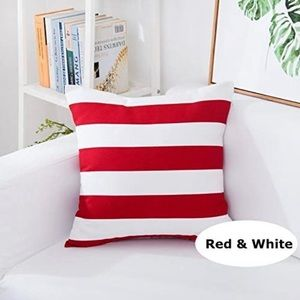Red White Striped Throw Pillow Cover